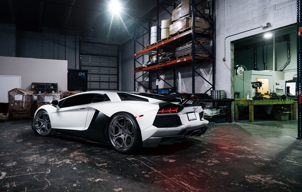 Picture Lamborghini, White, Matte, Tuning, LP700-4, Aventador, Supercar, Wheels, Garage, Rear, ADV.1