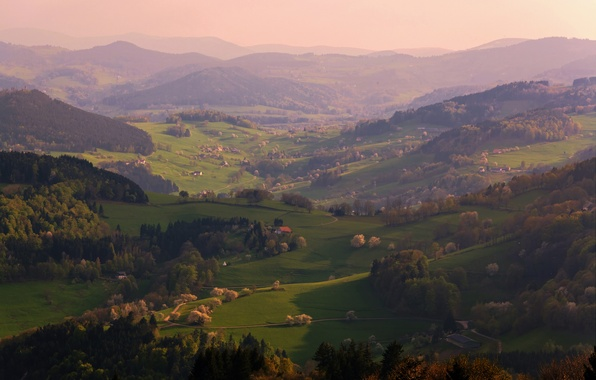 Picture light, mountains, heat, France, spring, the evening, valley, May, by Rebekka Plies