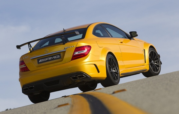 Picture the sky, yellow, markup, supercar, Mercedes, rear view, AMG, racing track, Mercedes-benz, AMG, Coupе, ц63, …