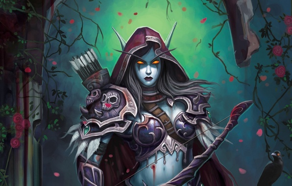 Picture flowers, night, elf, roses, armor, bow, fantasy, WoW, World of Warcraft, fantasy, arrows, elf, Lady …