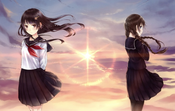Picture the sky, sunset, girls, the wind, art, form, Schoolgirls, kazuharu kina