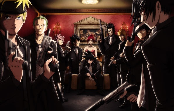 Picture girl, weapons, art, guys, Bleach, Naruto, mansion, One Piece, mafia, Kurosaki Ichigo, fan art, Uchiha …