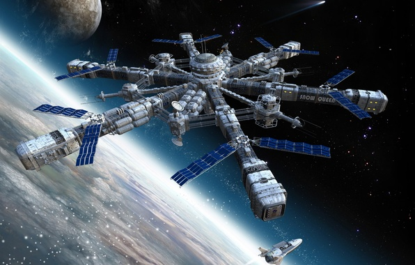 Picture space, planet, station, Shuttle, docking