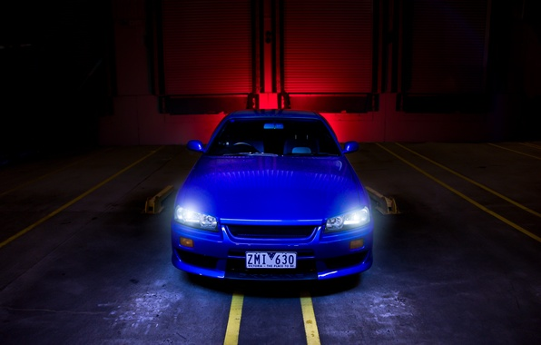 Picture blue, strip, nissan, skyline, Nissan, blue, the front, r34, headlights, skyline