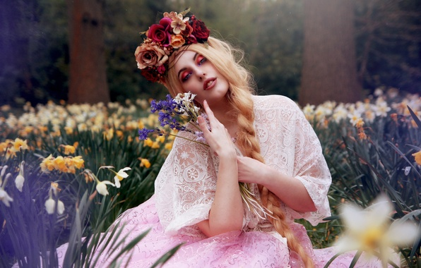 Picture girl, flowers, mood, bouquet, braid, wreath, daffodils, Arabella