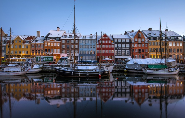 Picture reflection, building, boats, Denmark, channel, promenade, court, Denmark, Copenhagen, Copenhagen, Nyhavn, New Harbor, Nyhavn, New ...