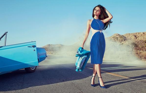 Picture road, machine, look, girl, model, smoke, beauty, Selena Gomez, Selena Gomez
