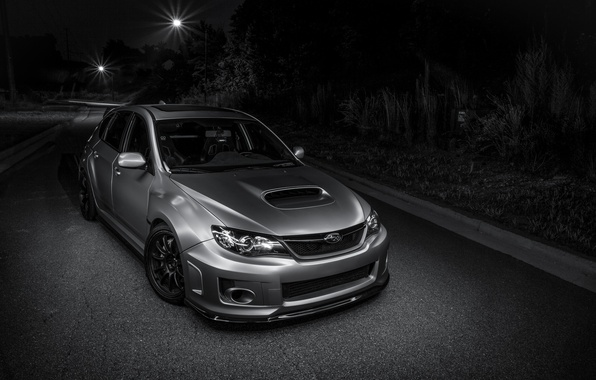 Picture Subaru, light, silver, road, wrx, impreza, night, front, sti