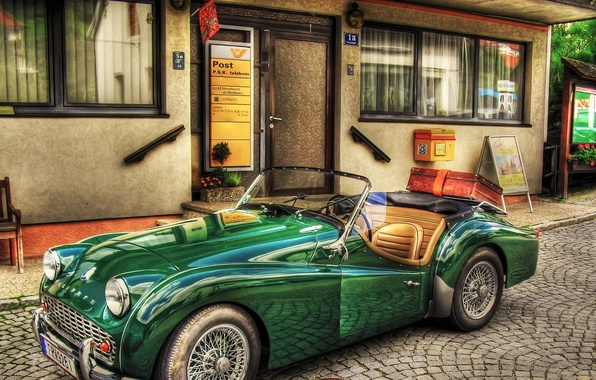 Picture the city, retro, street, suitcase, Roadster, convertible