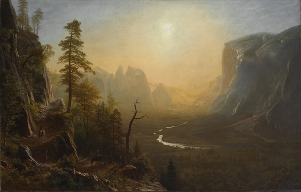 Picture picture, painting, Yosemite Valley, painting, Albert Bierstadt, Glacier Point Trail
