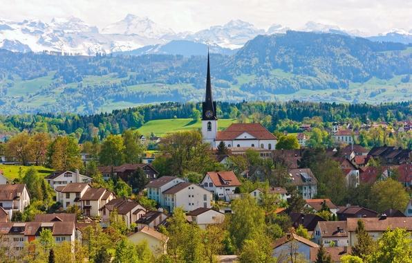 Picture trees, mountains, building, home, Switzerland, Church, panorama, Switzerland, Gossau