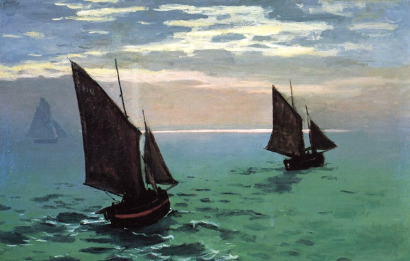 Picture the sky, picture, sail, seascape, Claude Monet, Fishing Boats in the Sea