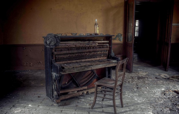 Picture music, bottle, chair, piano