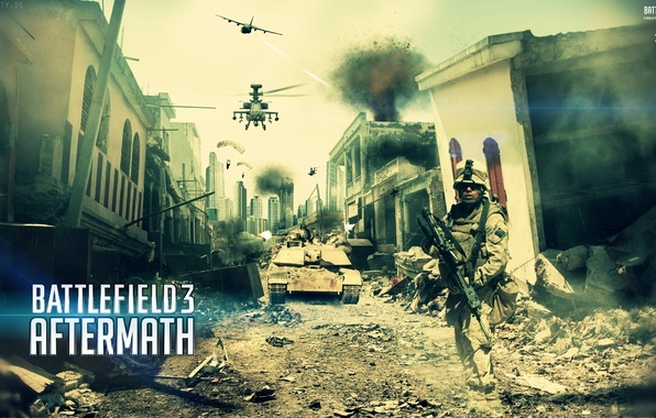Picture the city, soldiers, helicopter, the plane, Battlefield 3, aftermath