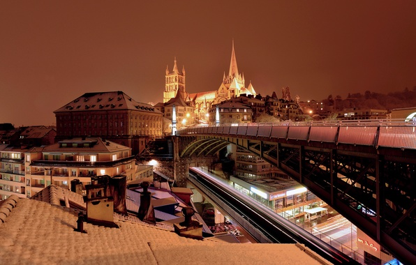 Photo wallpaper lights, Switzerland, Cathedral, bridge, night, Lausanne, home