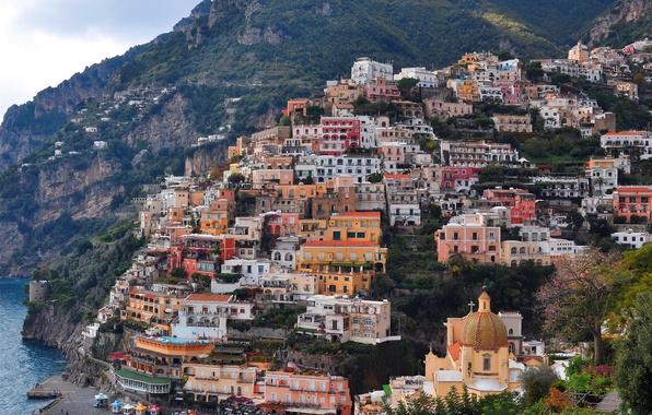 Picture sea, Italy, coast, rocks, houses, church, Positano