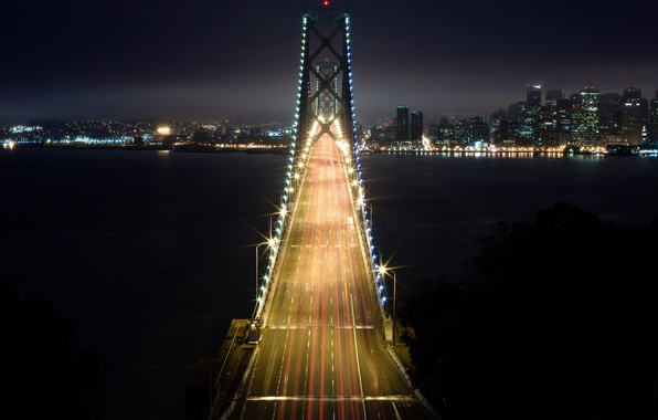 Picture light, night, bridge, the city, lights