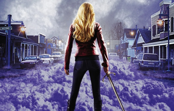 Picture purple, girl, machine, clouds, the city, fog, sword, blonde, Once upon a time, Once Upon …