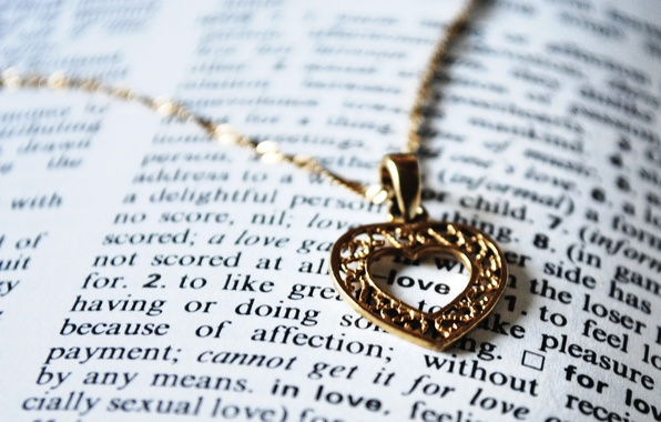 Picture heart, pendant, book, love, chain, the word