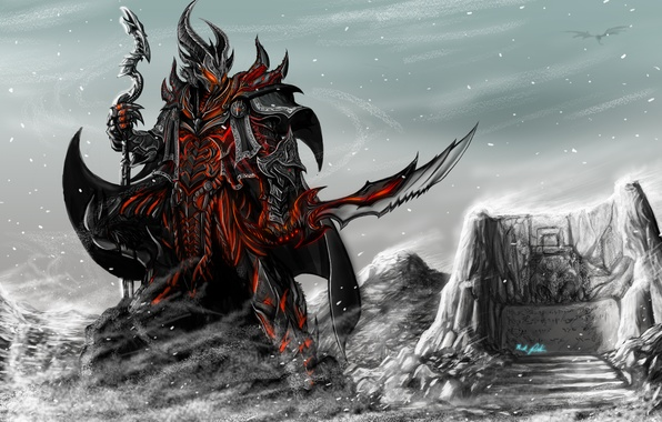 Picture weapons, the game, sword, armor, art, rider, staff, skyrim, wall words