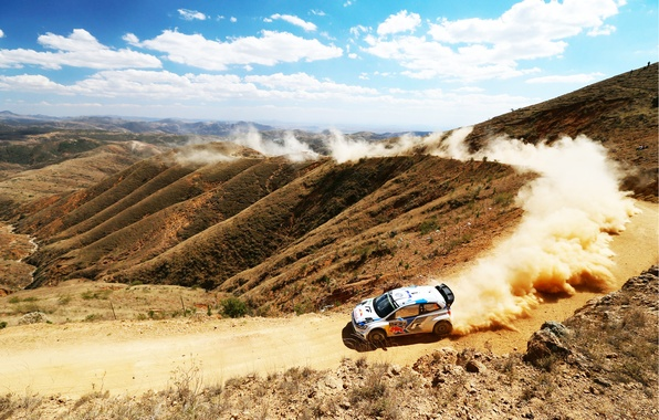 Picture The sky, Auto, Dust, White, Volkswagen, Speed, Turn, Day, Hill, WRC, Rally, Polo