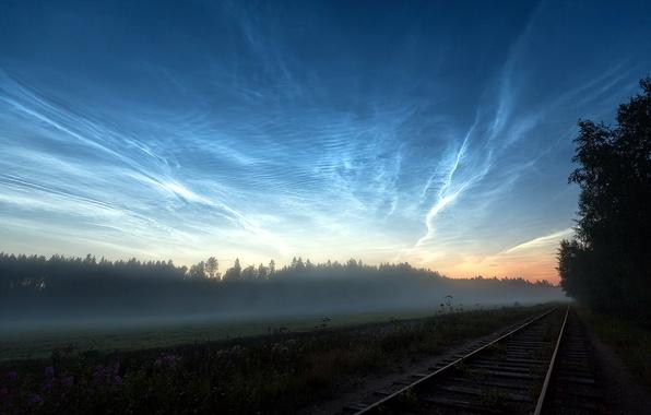 Picture field, landscape, fog, morning, railroad
