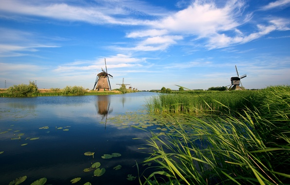 Picture river, channel, mill, Holland