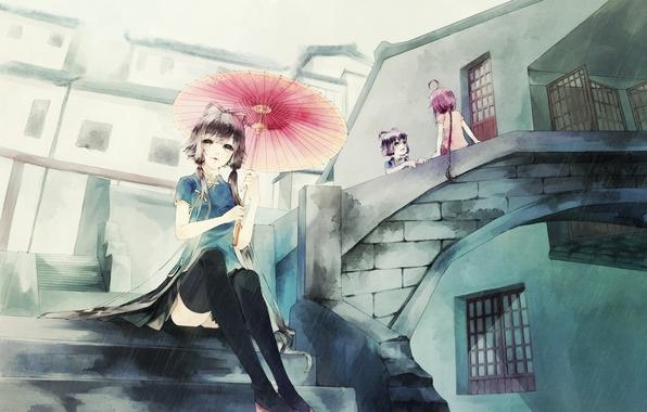 Picture girls, rain, umbrella, anime, art, ladder, vocaloid, anna, luo tianyi, yuezheng ling, anna1997