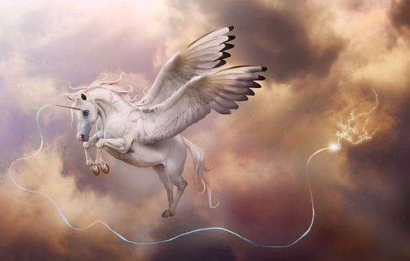Picture the storm, clouds, magic, lightning, wings, art, unicorn, Pegasus, in the sky, horn