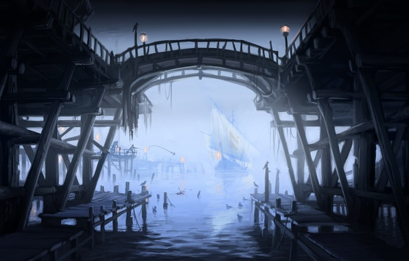 Picture Marina, seagulls, ships, port, lights, sailboats, Skyrim, concept art, The Elder Scrolls V