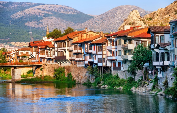 Picture landscape, mountains, bridge, river, rocks, home, Sunny, Turkey, Amasya, Central Anatolia