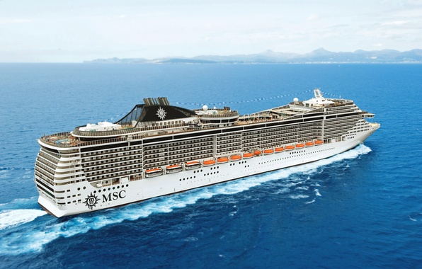 Picture Water, Sea, White, Liner, Cruise, Day, The ship, Side view, On the go, Splendida, MSC