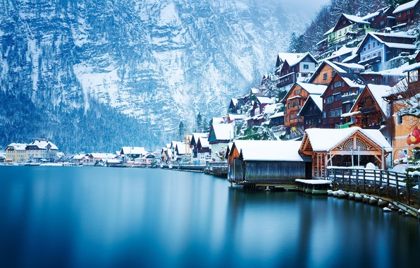 Picture winter, snow, landscape, mountains, lake, home, Austria, Hallstatt