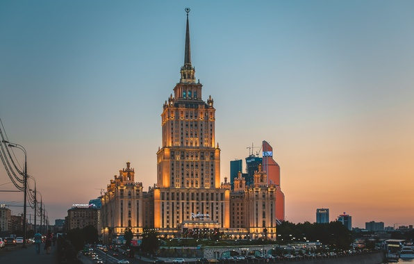 Picture summer, sunset, night, city, the city, lights, lights, the building, Moscow, summer, sunset, night, skyscraper, …