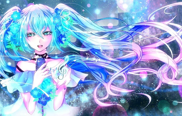 Picture girl, blue hair, Miku, sings