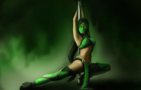 Picture look, girl, pose, the game, mask, art, green, Mortal Kombat, pole, Jade