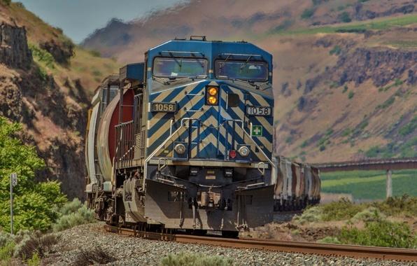 Picture background, rails, train, cars, railroad, locomotive