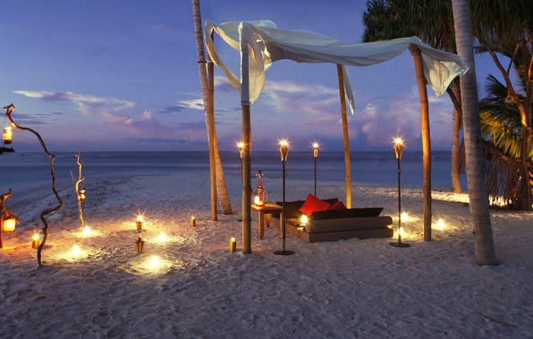 Picture beach, the ocean, romance, the evening, candles