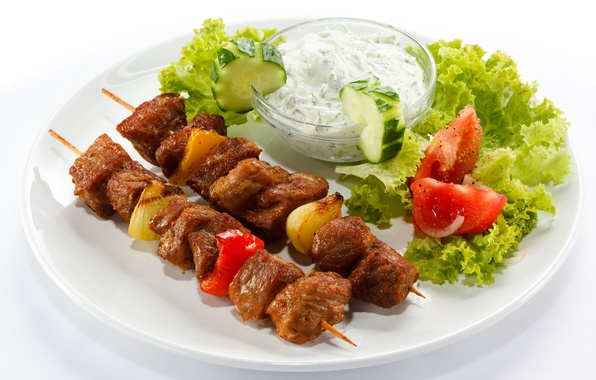 Picture bow, plate, meat, pepper, tomatoes, sauce, kebab, cucumbers, salad