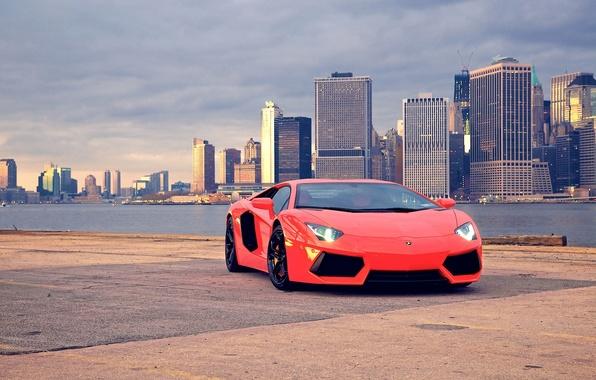 Picture auto, background, supercar, cars, auto, wallpapers, lp700-4, city, Photography, lamborghini aventador, lamborghini lp700-4 aventador
