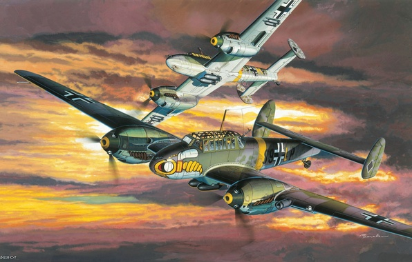 Picture aviation, the plane, figure, the second world war, fighter-bomber, bf-110