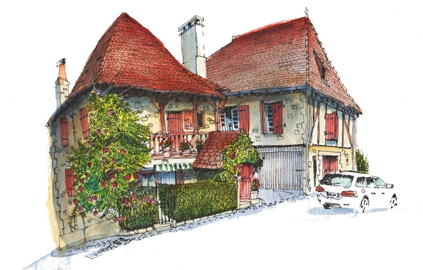 Picture the city, house, paint, figure, France, car, Gagnac-Sur-Cere