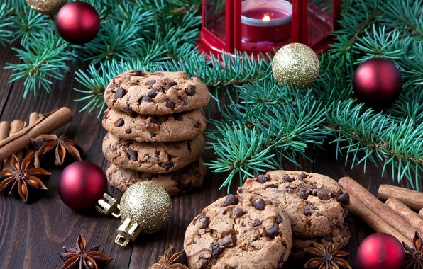 Picture balls, holiday, chocolate, candles, cookies, New year, cinnamon, cakes, tree branches
