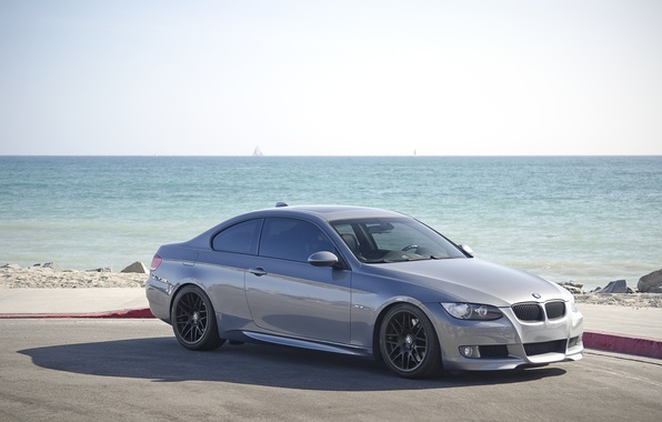 Picture sea, grey, bmw, BMW, coupe, shadow, grey, 335i, e92, the curb