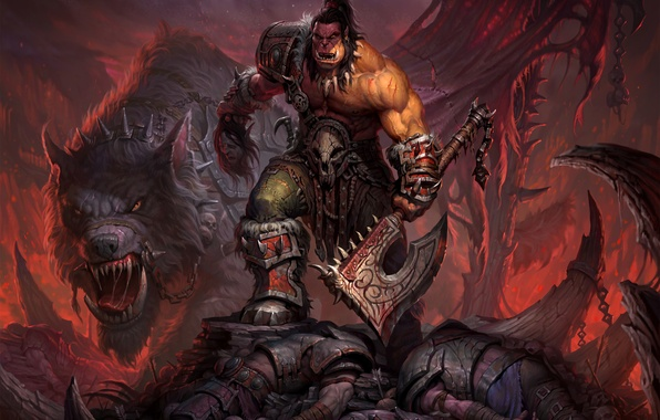Picture wolf, warrior, World of Warcraft, axe, chain, Warcraft, Orc, wow, warlords of draenor, Grommash Hellscream