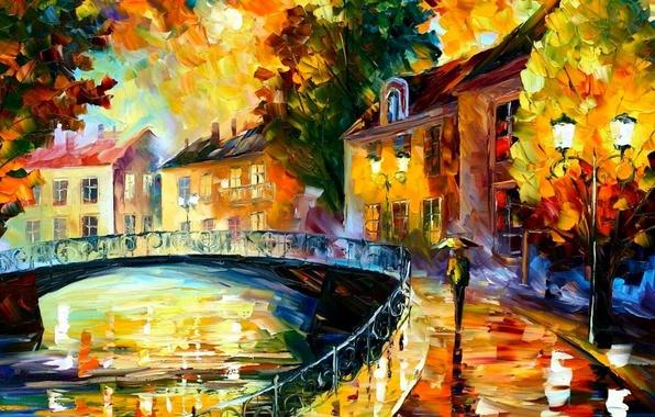 Picture bridge, the city, rain, watercolor
