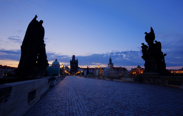 Picture the sky, clouds, sunset, the city, lights, blue, building, home, the evening, Prague, Czech Republic, …