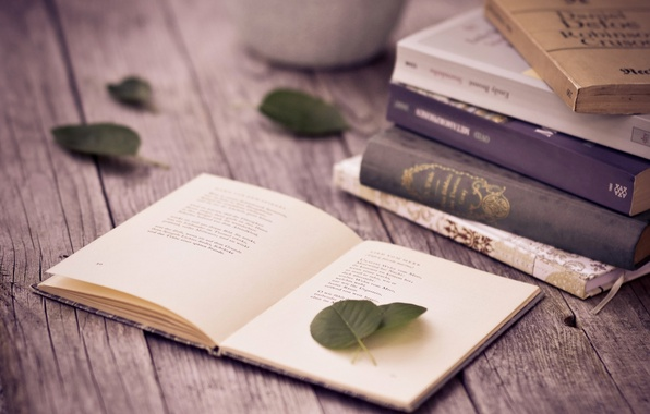 Picture leaves, table, books, page, poems