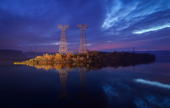 Picture the sky, water, clouds, nature, surface, reflection, shore, wire, the evening, River, blue, purple, power ...
