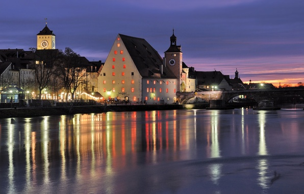 Picture night, bridge, city, river, watch, Germany, Bayern, restaurant, river, bridge, Germany, beautiful, illumination, Bavaria, chapel, …